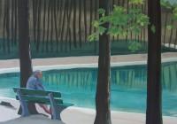 """""""Man aan het meer"""" 2007 Qouache op doek 60-70 cm"""