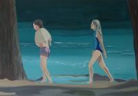 """""""Meisjes aan het meer"""" 2007 Gemngde techniek op doek  40-60cm"""