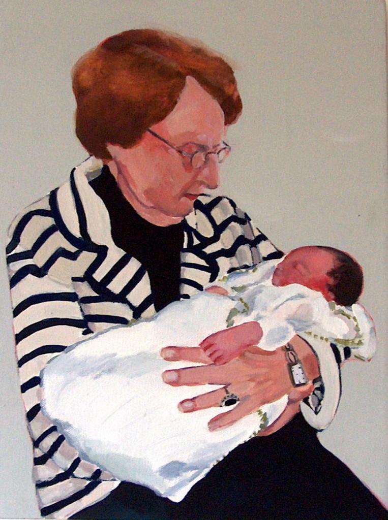 Oma met Jet, gouache op doek, 2007