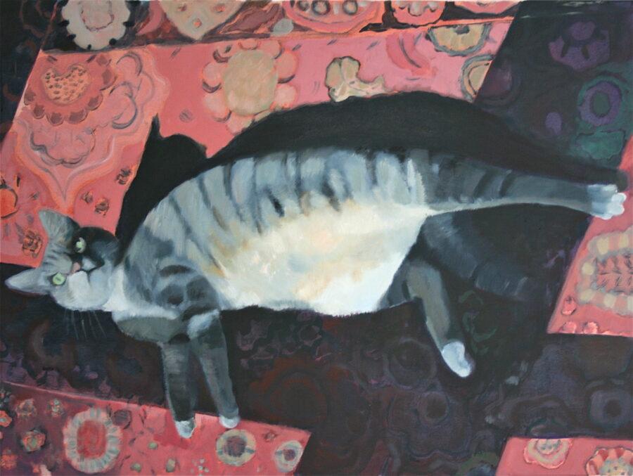 Kat in de zon, olieverf op doek, 60-80 cm, 2020
