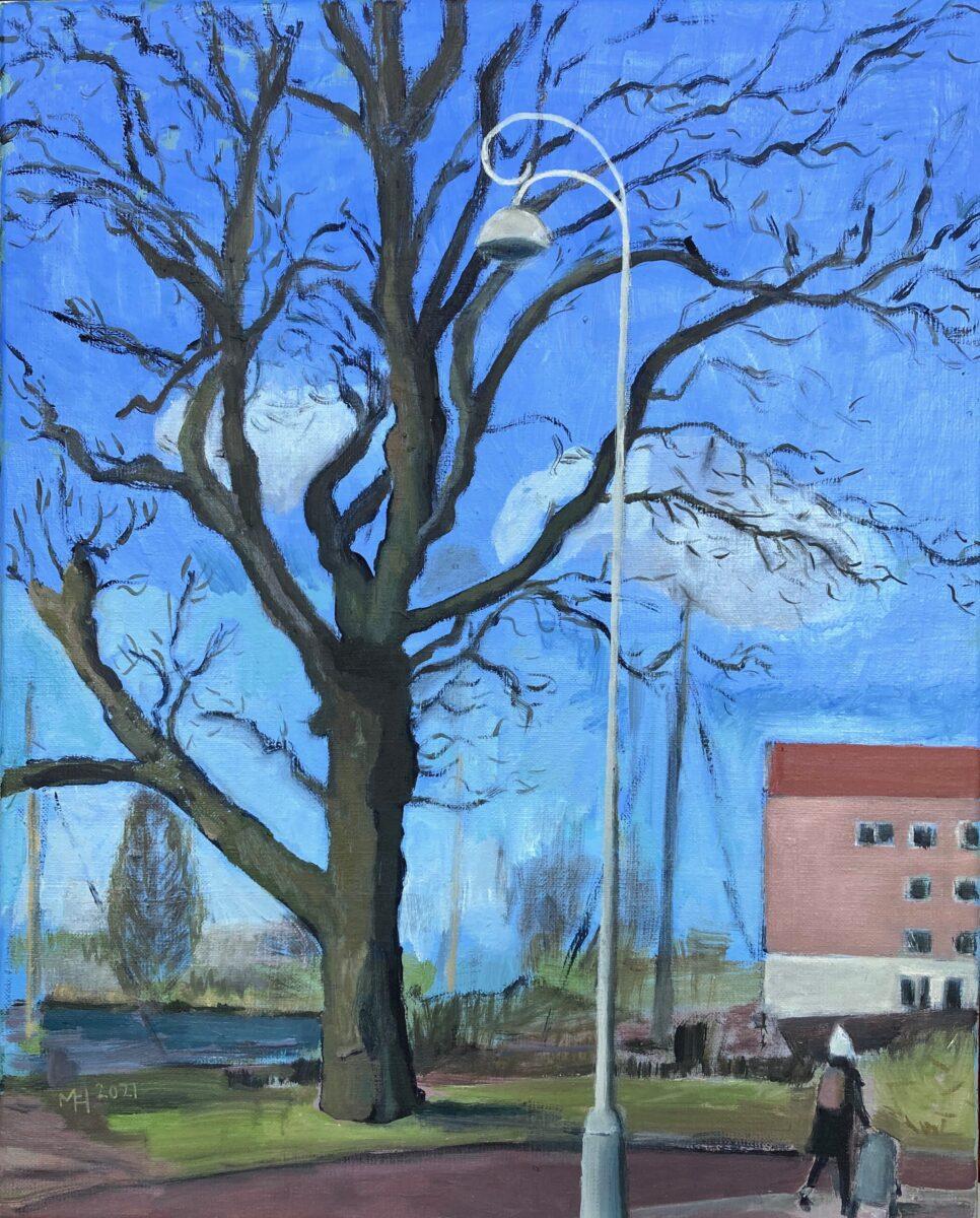 Entrepotdoksluis, kastanjeboom, olieverf op doek, 40-30 cm, 2021